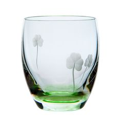 Irish Hand Cut Crystal Irish Shamrock Tumbler of whiskey tumblers with hints of green colouring and shamrock etching from the Irish Handmade Glass Company. Waterford City, Irish Store, Glass Company, Claddagh, Diamond Rings, Whiskey, Wine Glass, Crystals, Tableware
