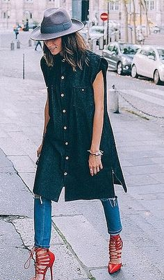 Play Up an Oversize Button-Up With Strappy Stilettos