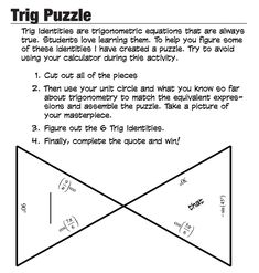Trig Tarsia Puzzle and other fun math activities to challenge the gifted Math learner.