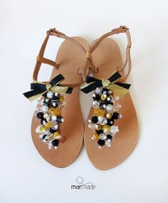 Leather Sandals with Black and Gold beads decoration. €42.00, via Etsy.