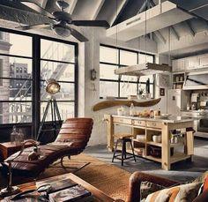 A loft space with beatiful rustic look. Loft Design, Deco Design, House Design, Lofts, Loft Spaces, Living Spaces, Living Room, Loft Apartments, Interior Architecture