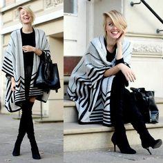 Y.A.S. Graphic Skirt, Zara Cape, Zara Overknees, All Saints Cashmere Sweater, Zara Bucket Bag