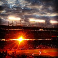 the sun sets at wrigley.