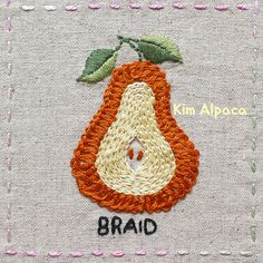 braid stitch , pear hand embroidery Embroidery Stitches, Hand Embroidery, Pear, Crochet Earrings, Braids, Craft Ideas, Beautiful, Design, Bias Tape