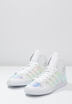 €89.95 Adidas Originals EXTABALL - Korkeavartiset tennarit - white/silver metallic (37 1/3)