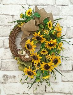 Sunflower Wreath Summer Wreath for Door Front by AdorabellaWreaths
