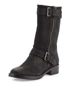 Log Leather Moto Boot, Black
