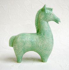 Ceramic Horse Vintage Design Figurine Bitossi Style Intaglio in Mint Green on Etsy, $40.00