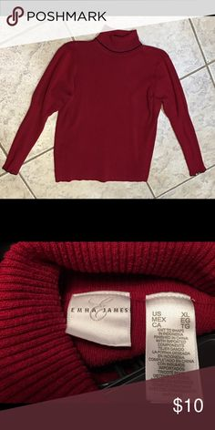 Emma James turtle neck Burgundy turtle neck w/ black trim. Fit to shape on sides and bottom of sleeves; very figure flattering. 82% cotton 18% nylon  Machine wash warm. Tumble dry low. Emma James Sweaters Cowl & Turtlenecks