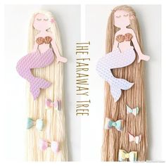 Mermaid hair bow holder, Mermaid bow holder, hair bow storage, hair bow hanger. This beautiful mermaid is the perfect addition to a little girls bedroom to store all your hair bows on. Her hair is available in blonde or brunette, her skin has a sparkle finish, her shell top is