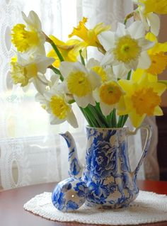 Beautiful daffodils in a lovely Blue & white coffee pot.....Charming ~ <3 ~