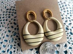 Hip Office Gold and Cream 1960's Plastic and Brass Wire Fashion Earrings by CobbWebbTreasures on Etsy