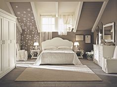 Luxurious Bedroom in Grey and Brown Design : Creative Attic Bedroom In Grey And Brown Sloping Ceiling White Closet
