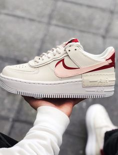 Nike Air Force 1 white, red and pink Shadow Pack sneakers. Nike Air Force 1 white, red and pink Shadow Pack sneakers.,Shoes Si j'éprouve des sentiments pour une paire de baskets… je crois bien. Nike Air Force Ones, Nike Shoes Air Force, Nike Air Force 1 Outfit, Basket Nike Air, Baskets Nike, Nike Force Mujer, White Nike Shoes, White Nikes, White Converse