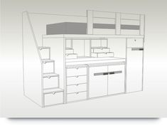 Bedroom Built Ins, Built In Bed, Bunk Bed Plans, Kids Bunk Beds, Volleyball Room, Adult Loft Bed, Bunk Rooms, Small House Plans, Girl Room