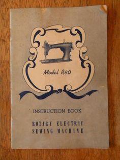 1952 Rotary Electric Sewing Machine Instruction Book Booklet Manual Old Ephemera | eBay