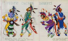 Prairie Chicken Dancers Grand Entry Song - White Lodge Mandaree, ND, gouache and ink on 1891 ledge paper , George Flett
