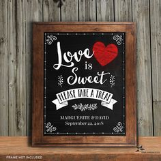 Love is Sweet Please Take a Treat Wedding Reception Sign, Instant Download by StarStreamPrintables on Etsy