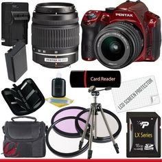 """Pentax K30 Digital Camera (Red) with 18-55mm AL Lens Kit and 50-200mm AL Lens 16GB Package 5. 16.3Mp APS-C CMOS Image Sensor. Full 1080p30 HD Video h.264 Compression. PRIME M Processing Optimized for Video. Advanced SAFOX IXi+ Autofocus. Large Wide Angle Viewable 3.0"""" LCD."""