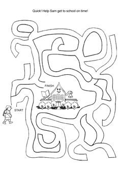 free online printable kids games get to school maze