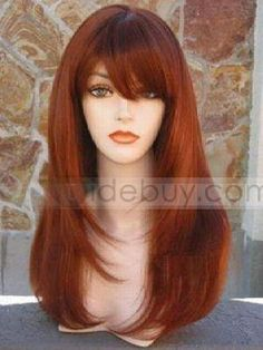 Red Wigs for Women | home wigs women wigs synthetic hair charming long straight red wine ...