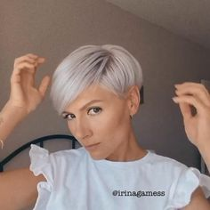 Amazing short hairstyles for fine hair By @ irinagamess   #hairstyles#shorthair#hair#finehair Undercut Hairstyles Women, Short Hair Undercut, Short Hairstyles For Thick Hair, Short Grey Hair, Haircut For Thick Hair, Short Blonde, Short Hair Cuts For Women, Pixie Hairstyles, Curly Hair Styles