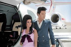 1967 5 30 Elvis leads his new bride, Priscilla by the hand to Frank Sinatra's learjet, the Christina, to return back to Palm Springs, California