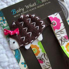 Girl Pacifier Clip, Hedgehog Pacifier Clip, Flower Pacifier Clip. $8.75, via Etsy.