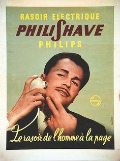 Rasoir électrique Philipshave - Le rasoir de l'homme à la page - 1950's - Old Pub, Philips, Appliance, Comme, Advertising, Barber Shop, Poster, Vintage Ads, Childhood Memories