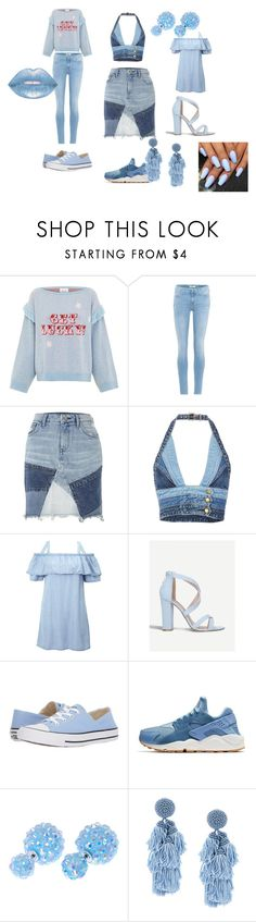 """""""All Blue Outfit"""" by takirah-jeffries on Polyvore featuring Hayley Menzies, 7 For All Mankind, River Island, Jean Atelier, Miss Selfridge, Miss KG, Converse, NIKE, Sachin + Babi and Lime Crime"""