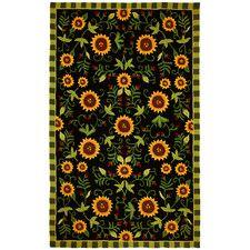 Sunflowers on Black Rug