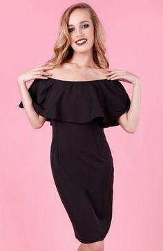 Madnezz Marchiano sukienka czarna Zjawiskowa sukienka, utrzymana w hiszpańskim stylu, góra ozdobiona piękną falbaną