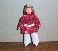 Puppenstubenbiegepuppe, Miniatur 1:12, Caco (Canzler), Hippie Mädchen in Spielzeug, Puppenstuben & -häuser, Puppen | eBay