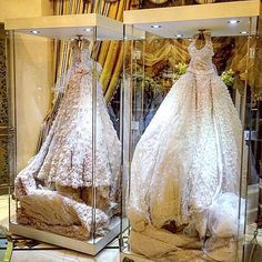 Your wedding dress will probably be one of the most sentimental and treasured items you'll ever want to preserve and keep for generations to come. So consider framing your wedding dress in a beautiful shadow box, it will keep it safe from harmful light or dust, and will allow you to pass it on to several generations to come.  Would you do it  ?? Dresses designed by #ElieSaab @eliesaabworld.  #lebaneseweddings