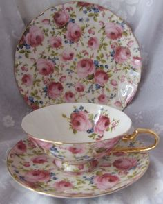 3pc Pink Rose Porcelain CUP Saucer Plate Trio SET TP632 | eBay