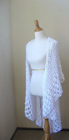 WHITE CROCHET VEST Fit Any Size Bohemian Boho by marianavail, $75.00