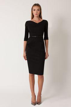 asymmetrical neckline dress // black halo