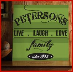 "NEW Family Live Laugh Love Canvas  Availability: Usually Ships in 6-8 business days     Canvas is available in:  * Cream Stripe * Green Stripe  Canvas Size: 14"" x 14""  Personalization: with Family Last Name up to 20 Characters and The Year Family Began www.finegifts.labellabaskets.com"