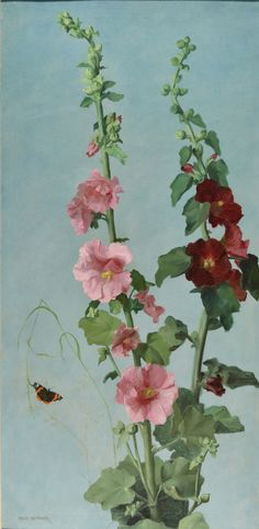 """Emmanuel Michel """"Many"""" Benner - Hollyhocks China Painting, Oil Painting Abstract, Watercolor Paintings, Floral Paintings, Flower Images, Flower Art, Emmanuel Michel, Hollyhocks Flowers, Botanical Drawings"""