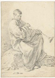 Cornelis Saftleven | Sitting Boy with Flute, Cornelis Saftleven, 1665 |