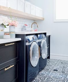 A dreary laundry room transforms into a dreamy space in just six weeks.