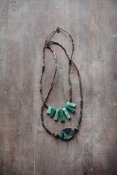 Mixed Media Boho Necklace / Green Brass Brown by BlueBirdLab