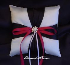 Formal Red, White, & Black Ring Bearer Pillow front runner because it includes all the wedding colors