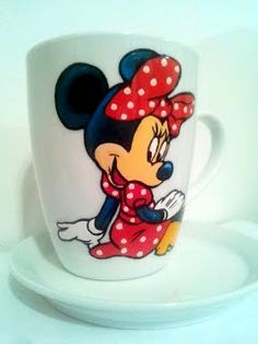 Handmade by Do : Mickey & Minnie Mouse painted Cups/ Căni pictate M. On October 3rd, July 4th, December, Mouse Paint, Greek Pattern, Ceramic Angels, Painted Cups, Flower Stands, Coffee Set