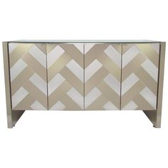 Mirrored Two-Tone Chevron Front Cabinet/Credenza by Ello | From a unique collection of antique and modern cabinets at https://www.1stdibs.com/furniture/storage-case-pieces/cabinets/