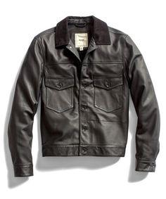 Todd Snyder Black Leather Trucker Jacket