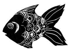 Lino cut ready for printing  I felt like having a go at another lino print yesterday and got the fish above cut.  It's just a fun graphic o...