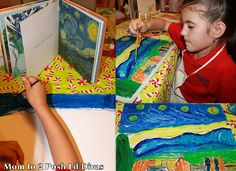 We have challenged ourselves to discover the Great Artists & explore different art techniques. This month on #KidsGetArty we learned about Van Gogh and oil painting. #StarryNight