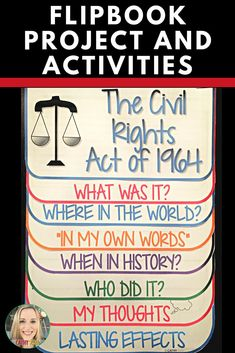Civil Rights Act, Research Project, Flip Book, Writing Prompts, Vocabulary Social Studies Resources, Teaching Social Studies, Teacher Resources, Teaching Ideas, History Projects, Research Projects, Study History, Women's History, Black History