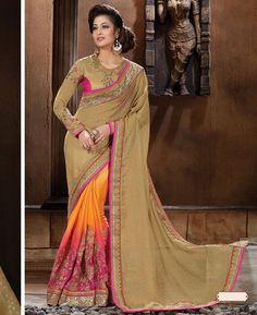 Buy Beautiful Brown Chiffon Saree online at  https://www.a1designerwear.com/beautiful-brown-chiffon-sarees-4  Price: $96.63 USD